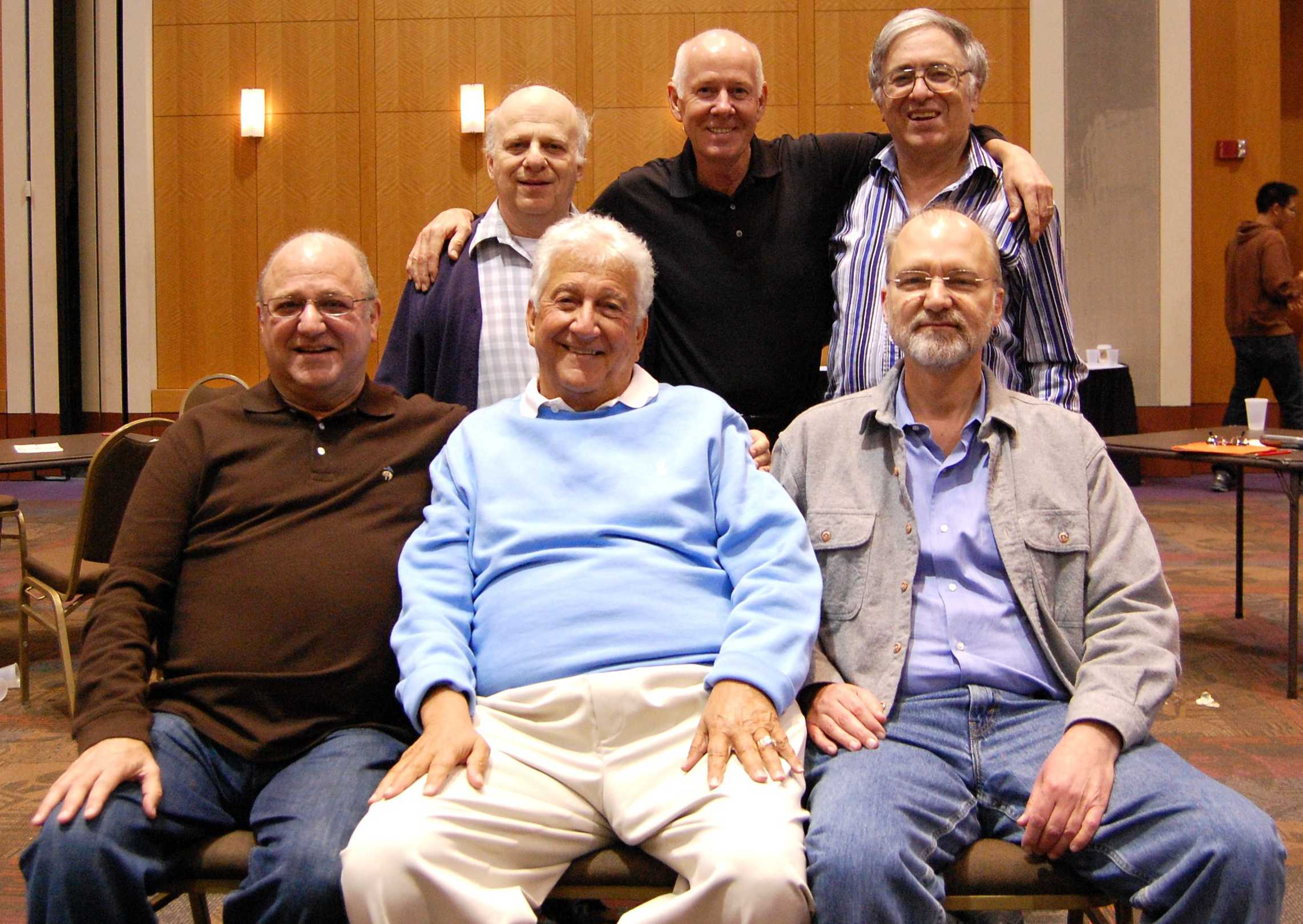 2012 Jacoby Open Swiss Teams Champions:  Seated, Larry Kozlove, Gaylord Kasle, Peter Boyd; Standing, Steve Robinson, Kit Woolsey, Fred Stewart